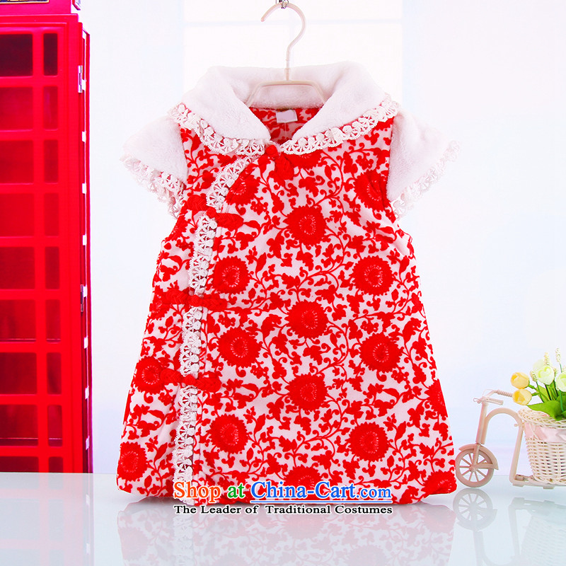 The new child warm relaxing stay Tang dynasty qipao 1-2-3-year-old girl winter holidays thick cheongsam Red 100