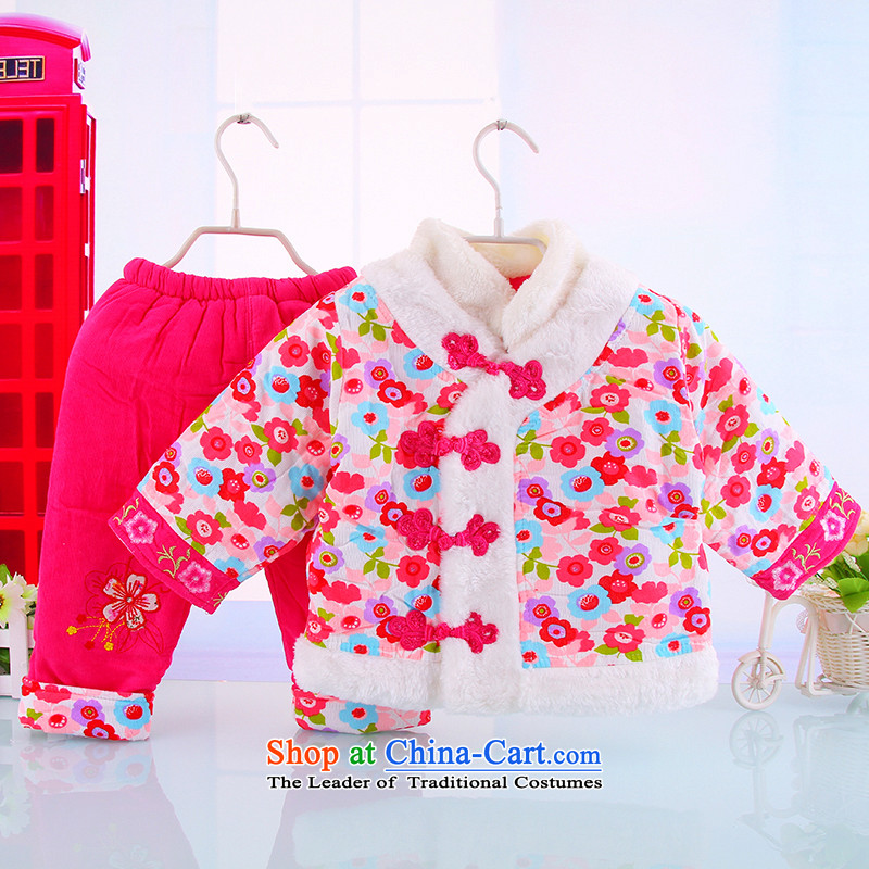 New Women's baby Tang dynasty infant winter coat kit 1-2-3-year-old girl children with baby winter Tang dynasty 茫镁貌芒 out two kits of clothing Red聽100