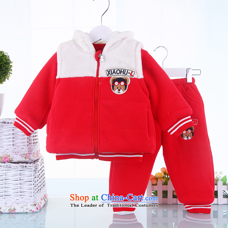 Children's wear boys and girls children's wear winter clothing children thick three kit baby casual clothes for autumn and winter, aged 0-1-2-3聽100cm_100cm_ red