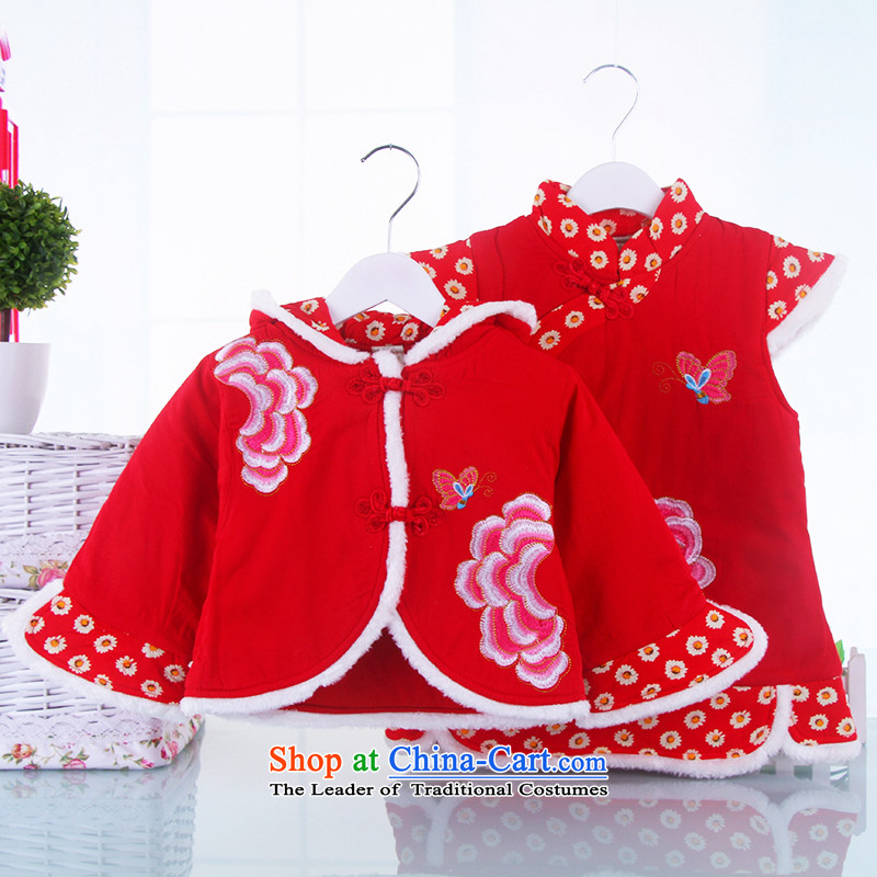 The new child cheongsam dress Tang dynasty winter holidays services of small and medium-sized girls skirt Pure Cotton fabric baby dresses 110(110) Red