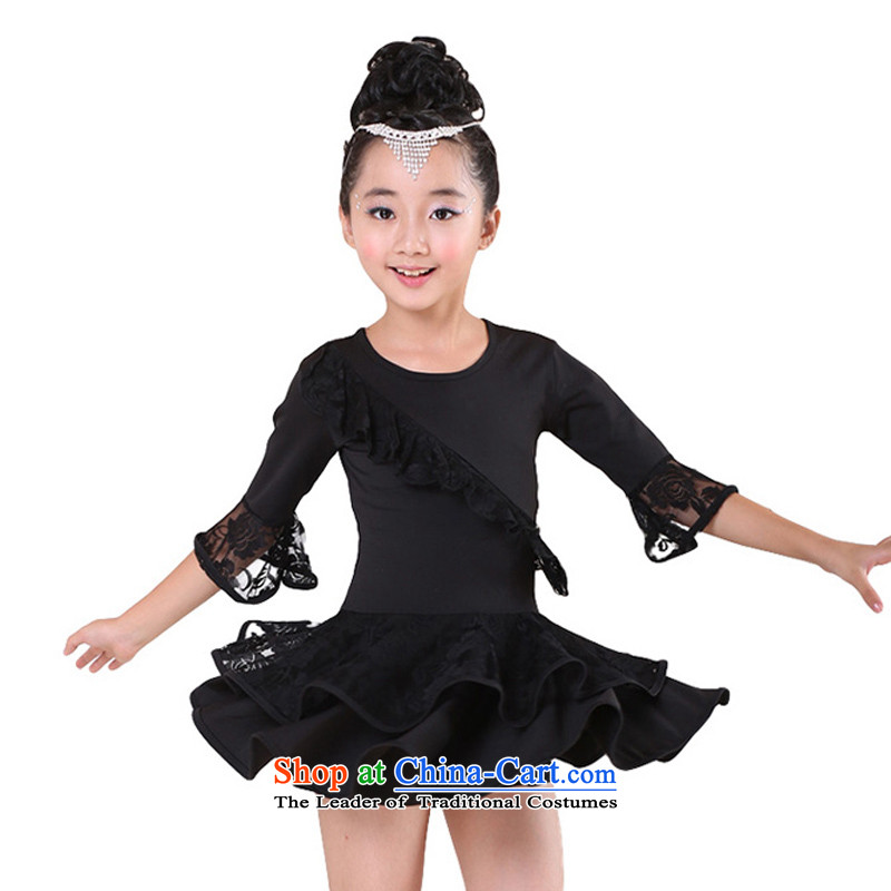 Children Dance services girls of autumn and winter long-sleeved Latin dance wearing long-sleeved Latin dance early childhood exercise clothing will Black 160
