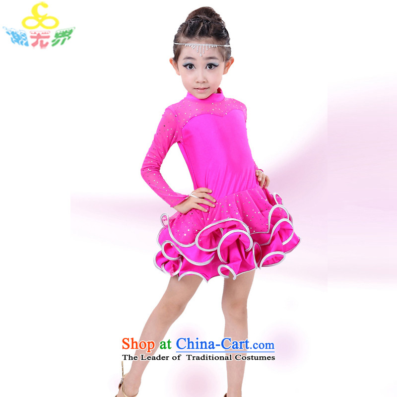 The new 2015 autumn and winter Shao Er Latin Dancing girl children wearing long-sleeved clothing Latin dance serving girls Latin dance skirt exercise clothing rose�130