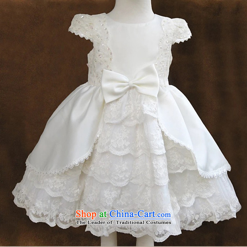 Every child will ye wedding dress of children's wear dresses wedding girls princess skirt White聽150
