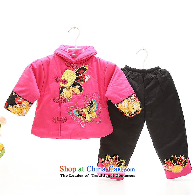 New Year Girls Tang Dynasty Package your baby girl ãþòâ jackets with thick 0-1-2-3-4 babies thick Winter Celebration services by age photo Red 120