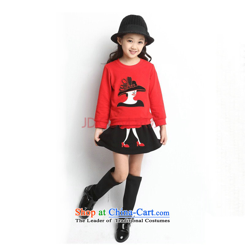 Children's wear girls spring and autumn Kit 2015 child baby princess Skirts 2 piece girls skirts will show a red thick winter, serving聽150 yard 140cm tall recommendations