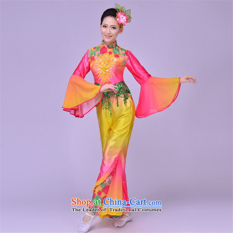 New yangko dance performances to women's national costumes theatrical performances waist encouraging fan dance wearing apparelBXXL yangko