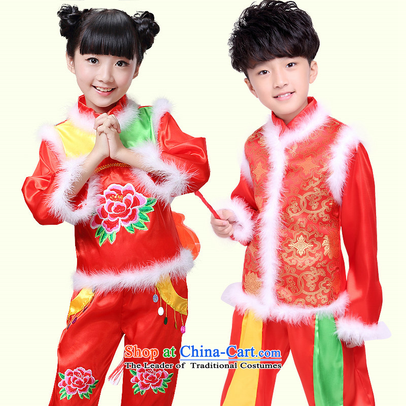 On New Year's Day Christmas children costumes to boys and girls national jubilation macrame festival performances yangko winter clothing male red 150 Dance