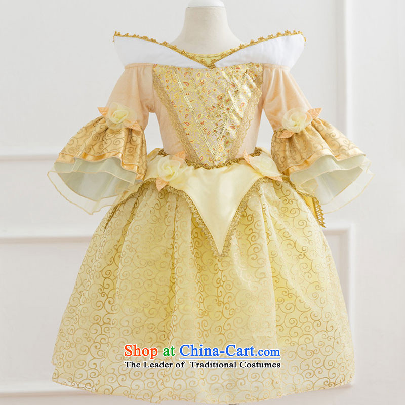 The princess skirt will children dress Beverly Princess skirt bell girls dress long skirt bon bon Yellow 120cm