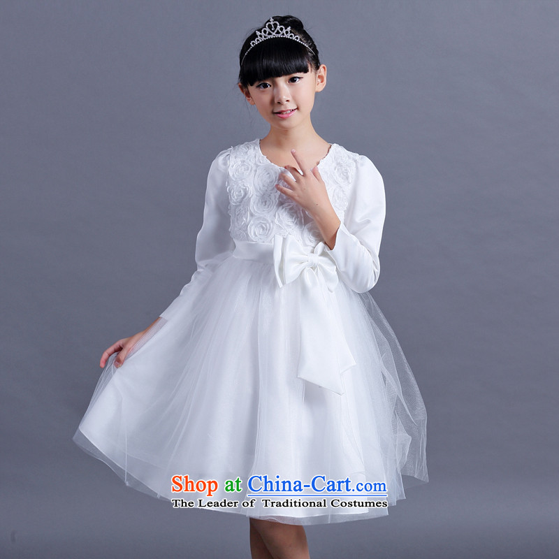The spirit of the new children's wear birds 2015 girls Fall/Winter Collections long-sleeved dresses children princess skirt bon bon wedding dresses Korean girls skirt long-sleeved-CUHK dress White 170