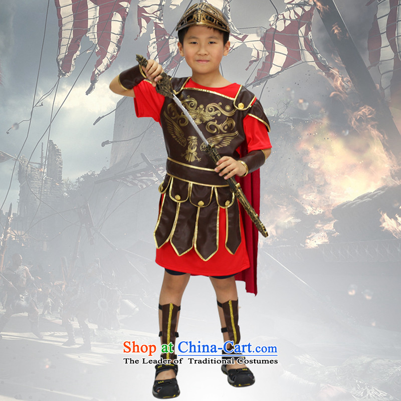 Fantasy to primary schools for boys and girls costumes birthday party Game Services Role Play costumes Roman gladiator fighters serving red brown_ - no armour and helmet聽150cm11-12 code