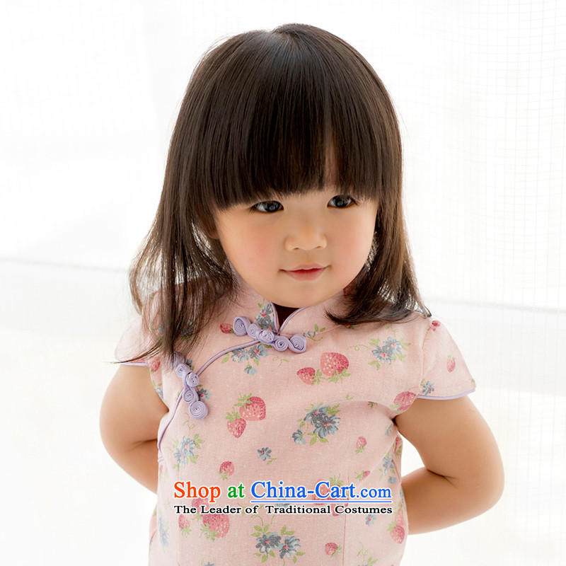 Mr Tang dynasty qipao children, girls short-sleeved dresses quality pure cotton strawberries China wind baby skirts pink120