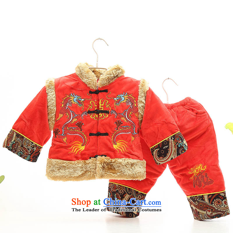The new baby boy Tang dynasty winter cotton infant winter jackets with children under one year old birthday services out service 0-1-2-3 velvet-Red80