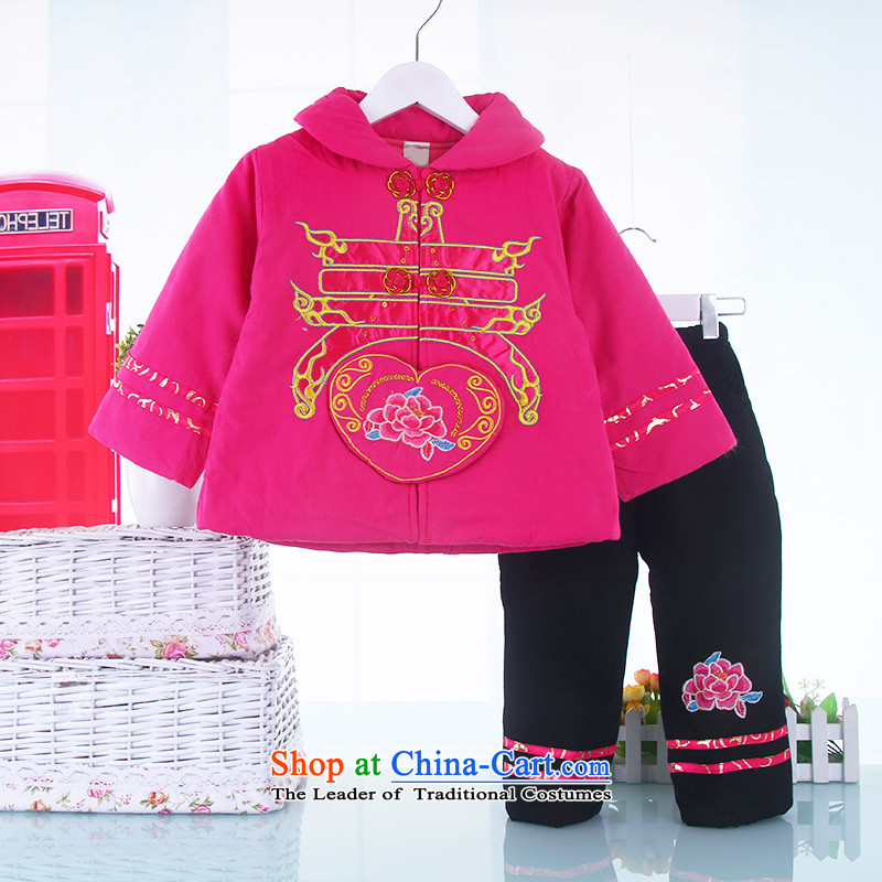 New Year infant children's wear Tang dynasty baby coat jackets with girls aged 0-1-2 thick winter clothing baby cotton apparel rose聽110
