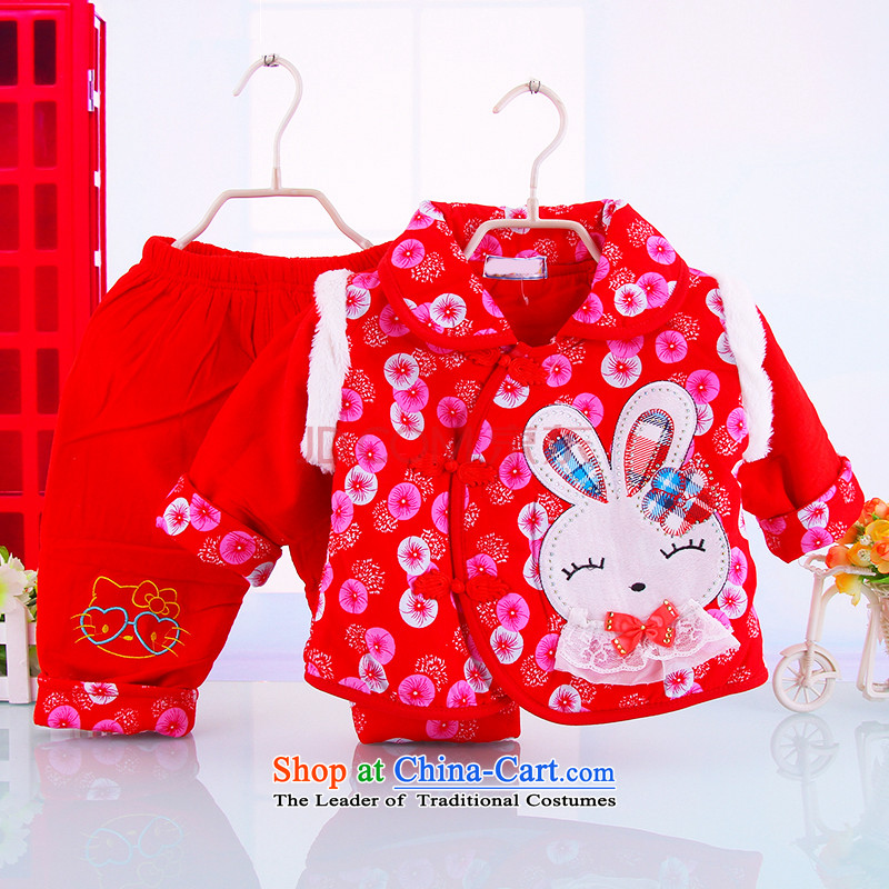 The autumn and winter new Tang dynasty cotton lint-free 0-1-2 girls the half-year-old child two kits cotton coat Out & About Set thick red 73(73)