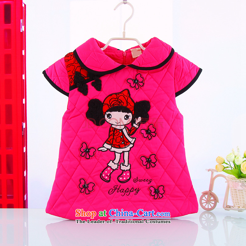 The new children's wear girls Tang dynasty children winter cheongsam dress girls cotton dresses female folder of your baby vest skirt Fall/Winter Collections of red 90(90)