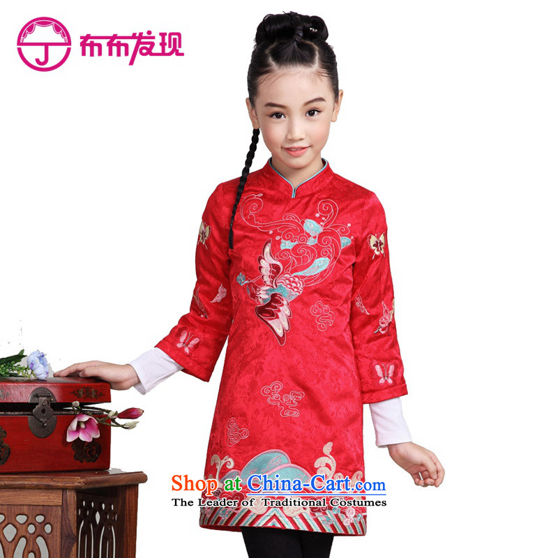 The Burkina found 2015 autumn and winter new children's wear girls clip cotton qipao warm long-sleeved CUHK long-sleeved cheongsam dress 34505145' Red 160 code