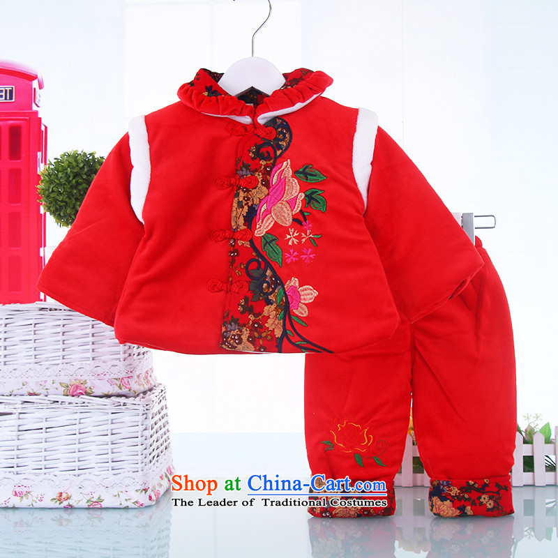The girl child Tang Dynasty Package winter) thick cotton clothing BABY CHILDREN Tang clamp unit of newborn infants under the age of dresses whooping 80(80) Red
