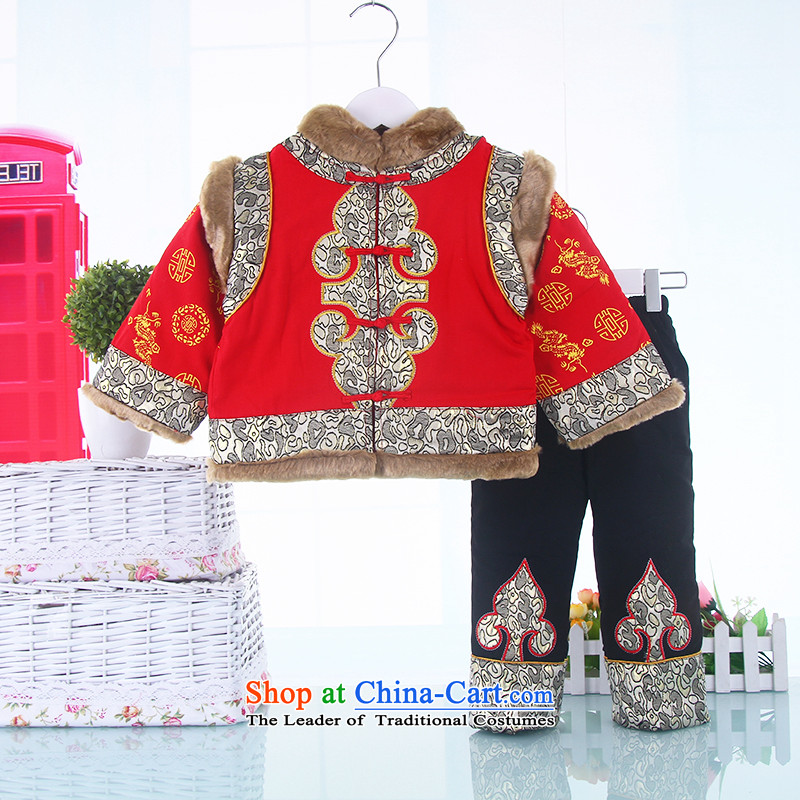 The baby boy Po women replacing Tang Tang Dynasty Po Children's Wear cotton folder 3 kit ?t��a winter clothing Po pure cotton waffle inside the New year red?100