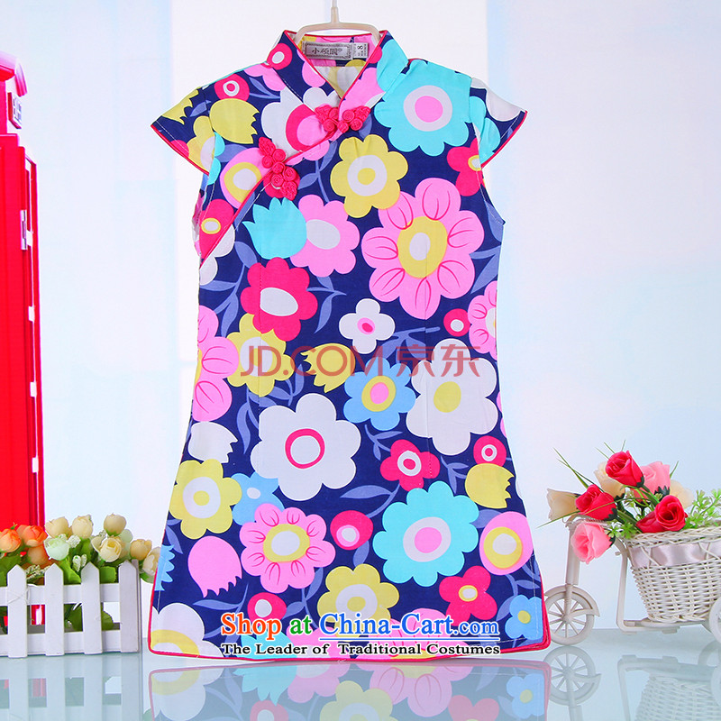 Platinum 2015 Summer Children flag qipao girls qipao baby Tang Dynasty Chinese children's wear skirts cotton linen dresses 4000 pink 140