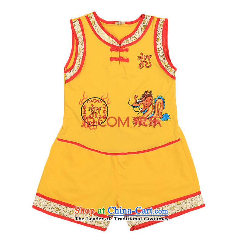 The boy summer New Kit2015 New Tang dynasty infant kit baby sleeveless shorts Kit 4807 Yellow80