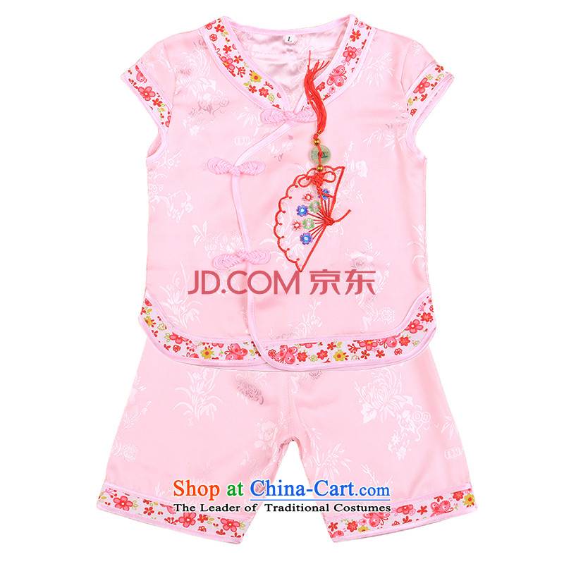 2015 new baby Tang Dynasty Package girls of early childhood short-sleeved shorts summer infant garment aged 1-2-3 4808 pink聽80