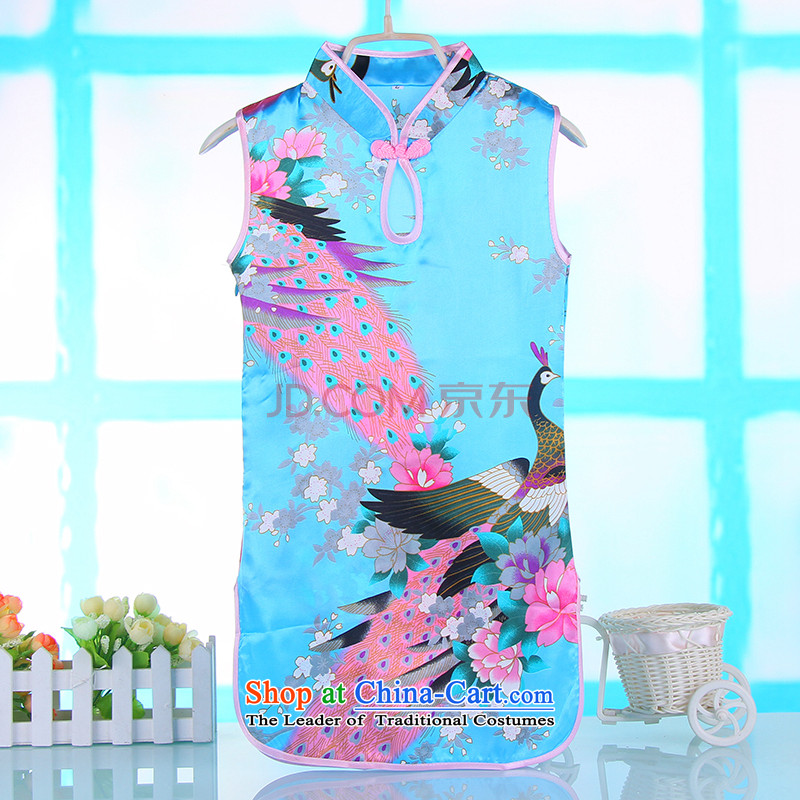 M-ki 2015 Spring Summer girls short-sleeved dresses Chinese Antique Children Tang dynasty 4691A qipao Baby Blue140