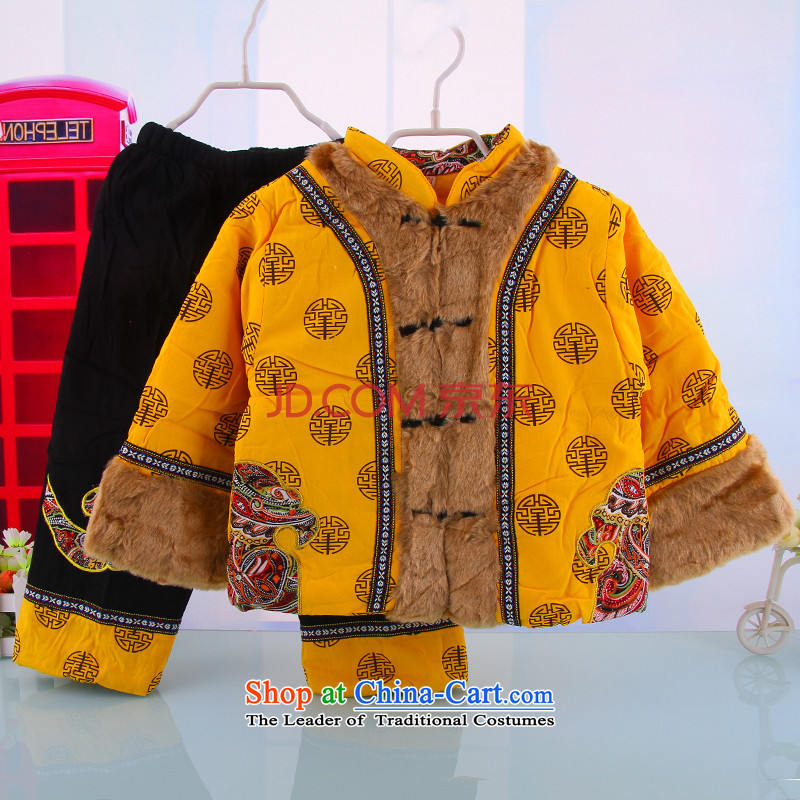 Autumn and Winter load to boys and girls infant children services bundle baby is one month old baby Tang dynasty5216 Yellow 90 years dress