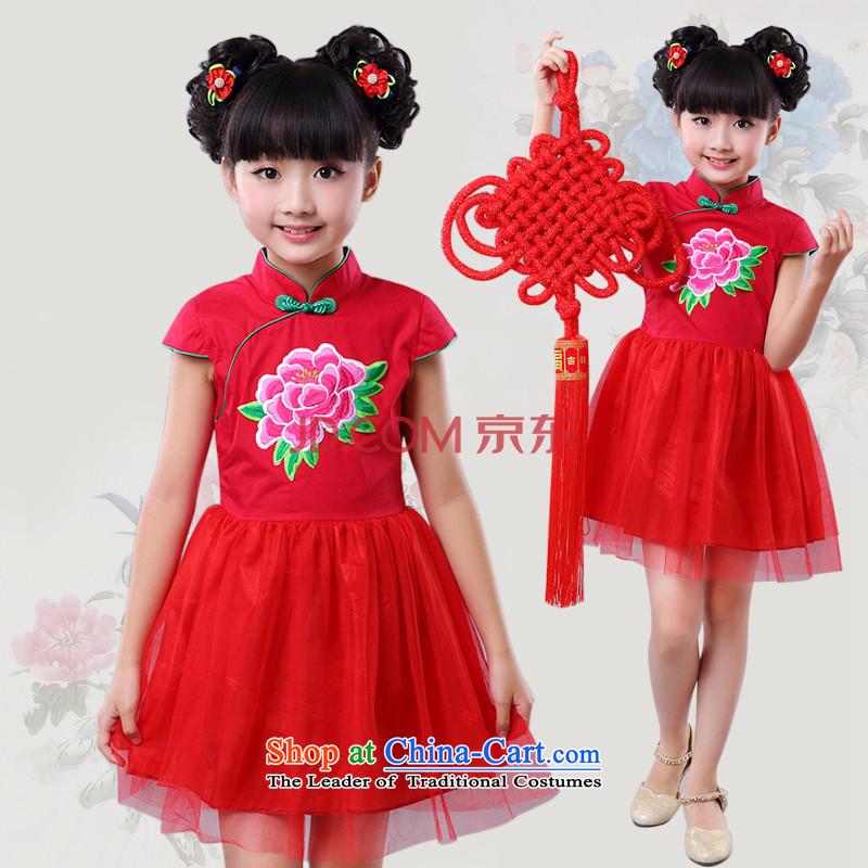 2015 China wind girls qipao BABY CHILDREN Tang dynasty princess cotton yarn skirt guzheng performances dress spring and summer 4685th rose120