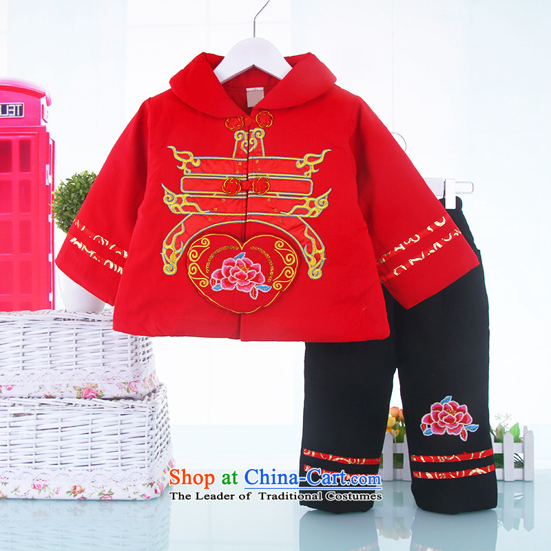New Year baby girl Tang Dynasty Package 0-1-2-3-4 baby girl aged thick coat small girls infant winter clothing Red110