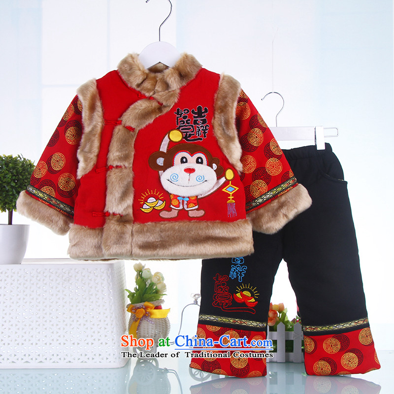 Tang Dynasty children boy with your baby years New Year will dress child care infant Tang dynasty winter coat Kit Red聽120