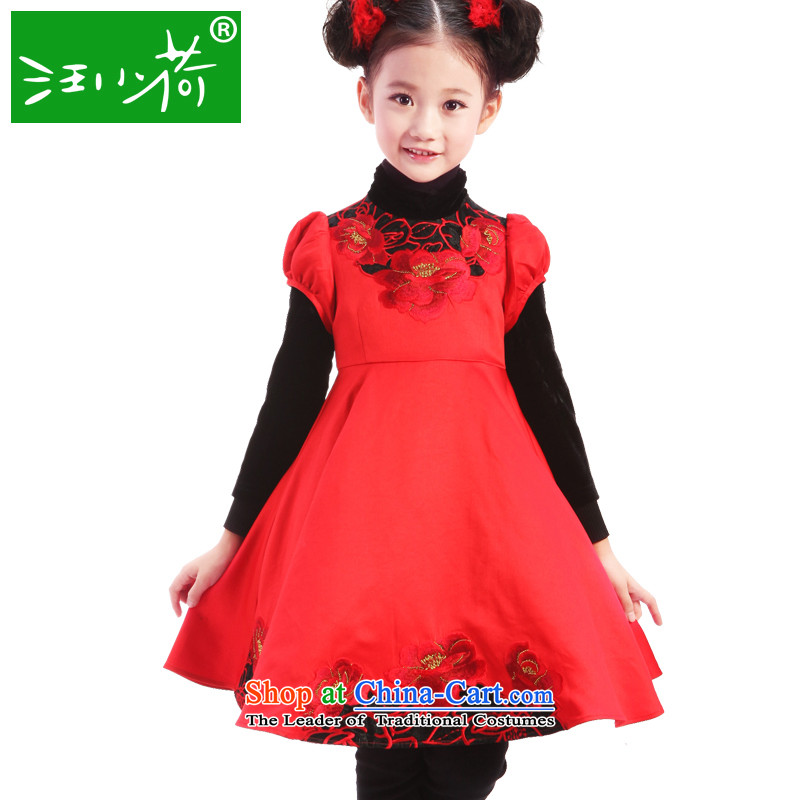 I should be grateful if you would have little girls Wang Chun, show dress W2329K140/136-145cm/ red