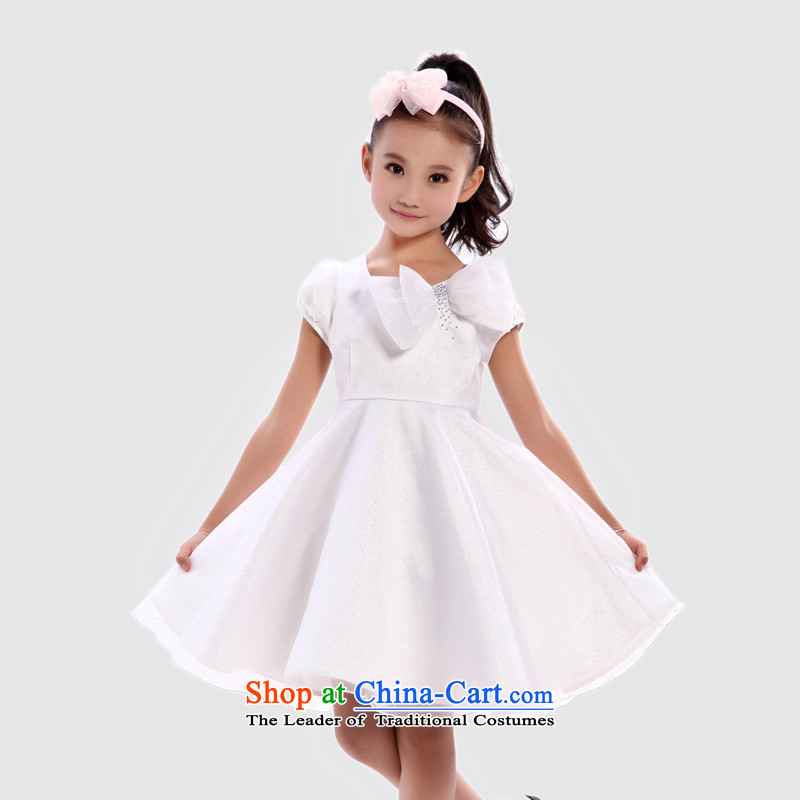 I should be grateful if you would have little girls Wang summer gown yarn dresses W3269S?120_116-125cm_ White
