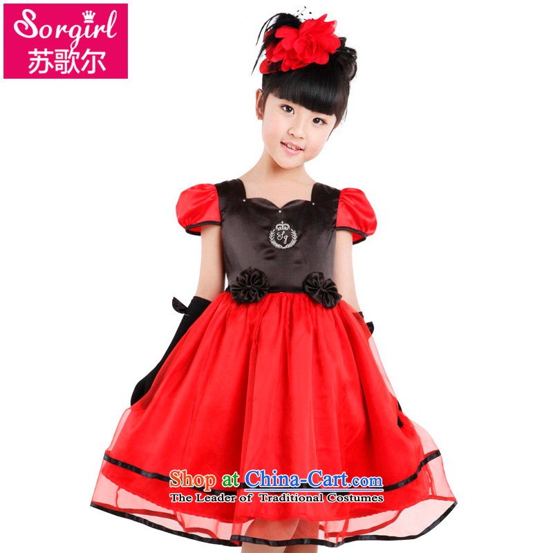 Su Song's 610 children under the auspices of the dedicated service students show dance performances to girls evening dresses wedding flower girls princess dress girl children's wear CUHK dresses red 150 code