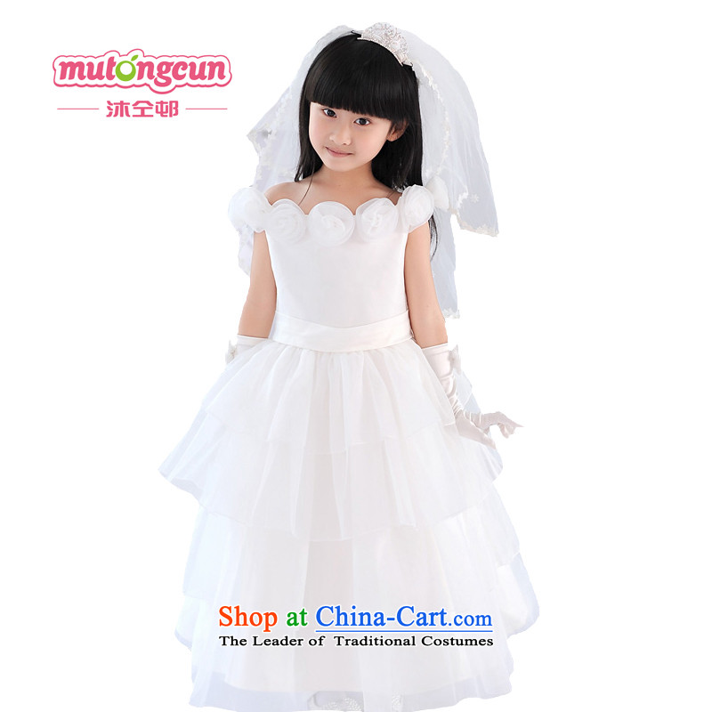 Bathing in the staff of the Estates Girls High Princess skirt wedding dress long Flower Girls dress will preside over?026?m White?140cm