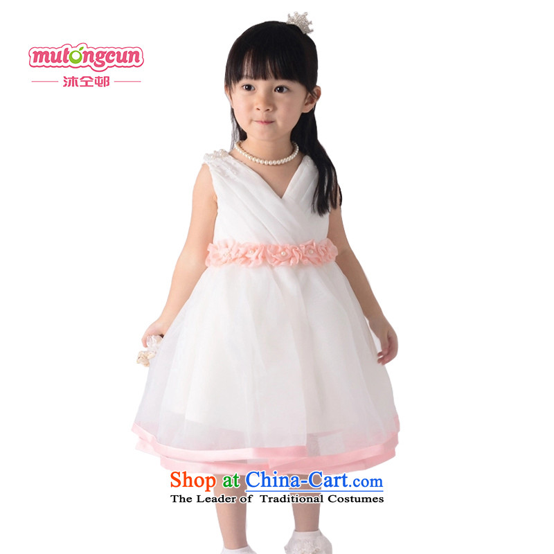 Bathing in the staff of the estate children dress princess skirt girls Flower Girls Skirt 61 performances to live piano music services wedding dress 032 m White 150cm