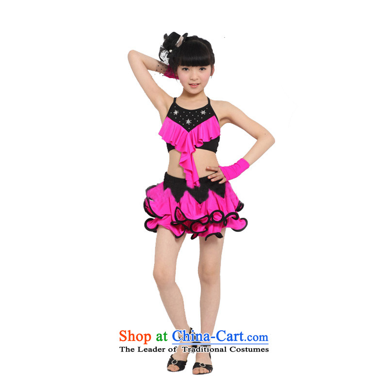 Adjustable leather case package version large children Latin dance manually stars kit split will be red100cm