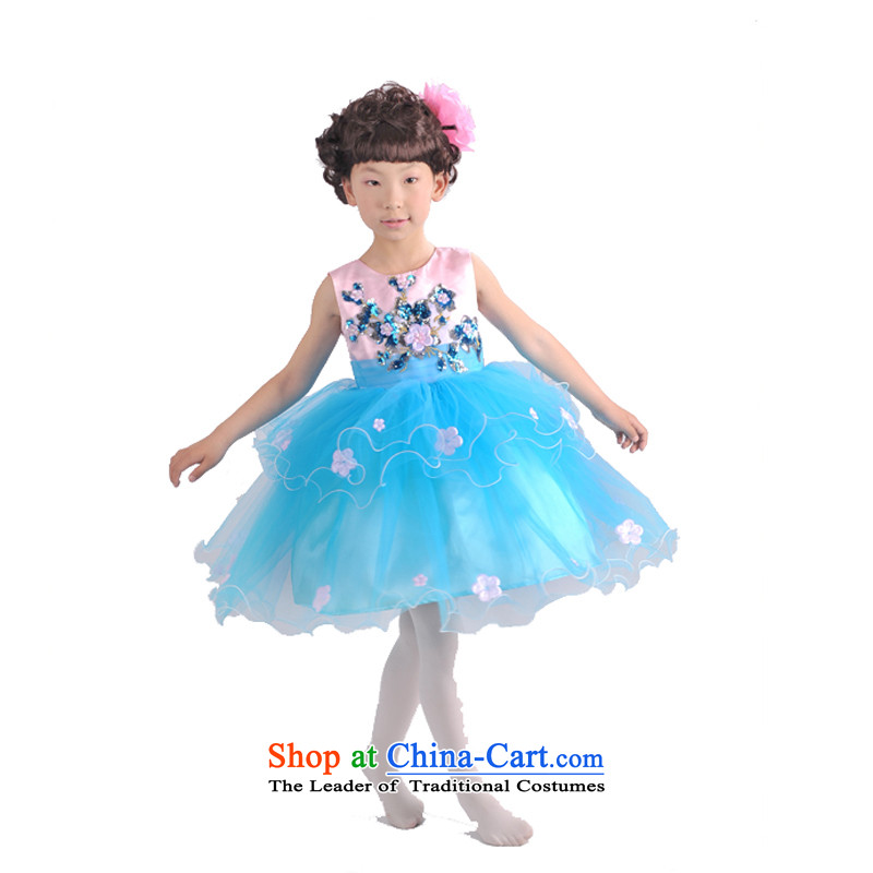 Adjustable leather case package children will even Yi Princess skirt girls Powder Blue Powder Blue聽150cm