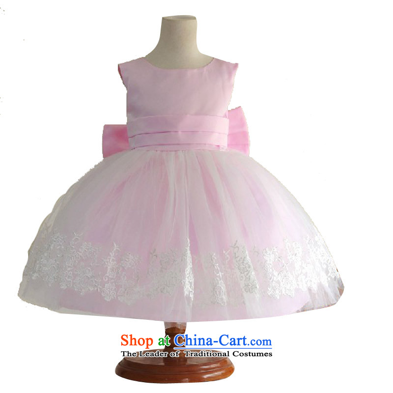 Adjustable leather case package girls dresses Flower Girls dress pink bow tie pink聽140cm