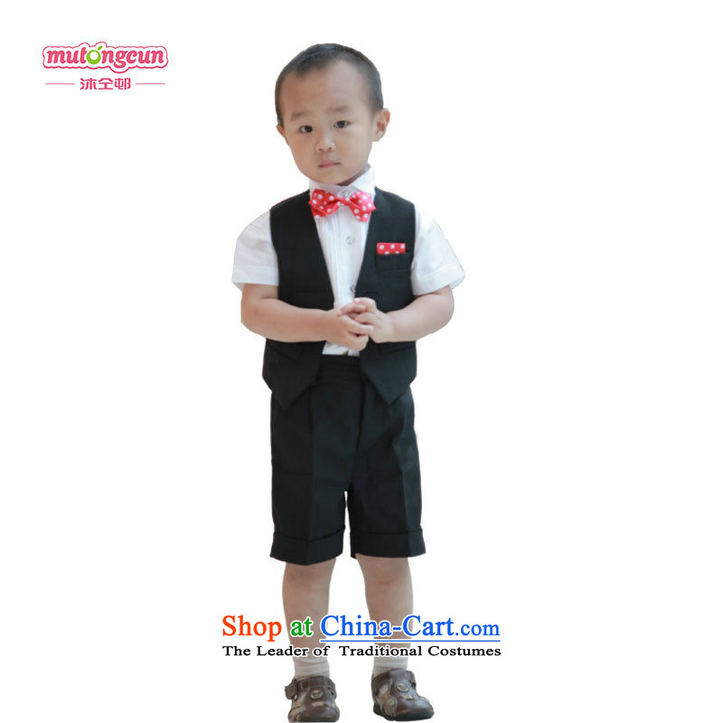 Bathing in the estate boy upscale distinguished strap short-sleeved gown flower of children's wear suits shorts in spring and summer celebrate Children's Day serving birthday wearing black performances, a red dot Bow Ties with no back120cm