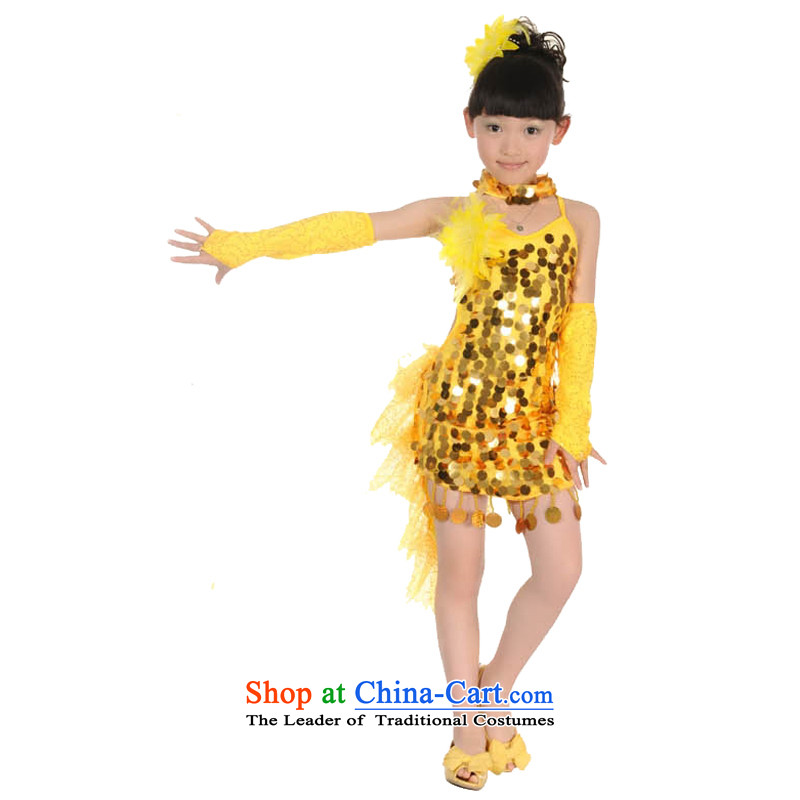 Adjustable leather case package children Latin dress Stage Costume national costume show services Yellow聽160cm