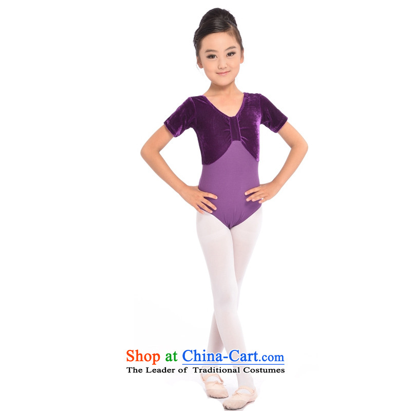Adjustable leather case gold velour short-sleeved-exercise clothing girls dancing to purple 140cm