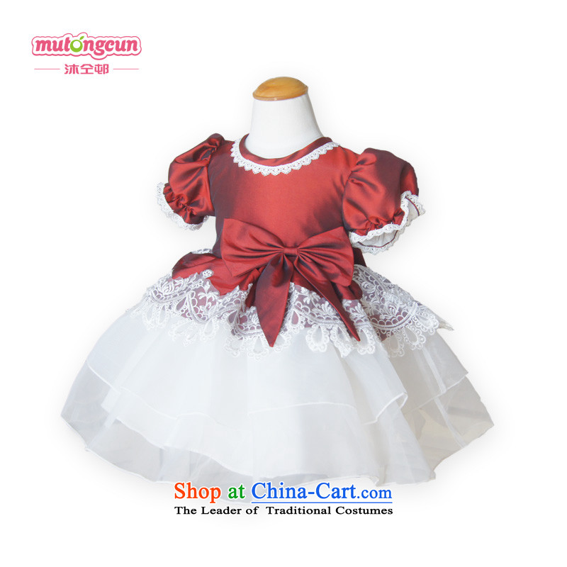 Bathing in the staff of the estates lace bubble cuff wine red Palace Chiu girls children's wear Flower Girls dress children dress skirt princess skirt bon bon skirt wine red 150cm