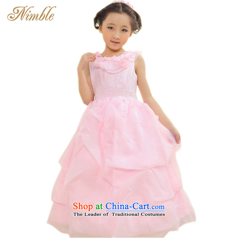 Tien Po NIMBLE upscale children dress skirt princess skirt Flower Girls skirt wedding dress girls dresses hosted a photography replacing birthday party gift clothing pink聽135cm