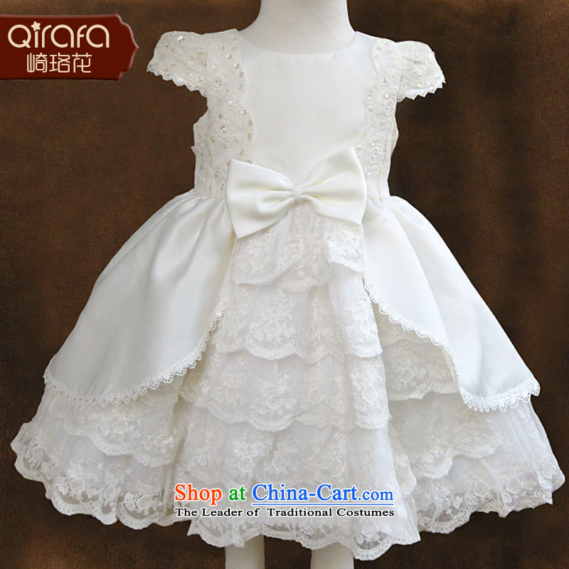 Kawasaki Judy spend QIRAFA children dress skirt princess skirt girls wedding dress children in Dalian and skirt will Summer 2015 06080 80 yards short-sleeved white