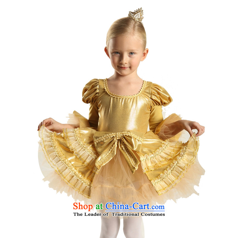 Adjustable leather case package dress princess skirt ballet skirt Flower Girls dress 185cm Gold
