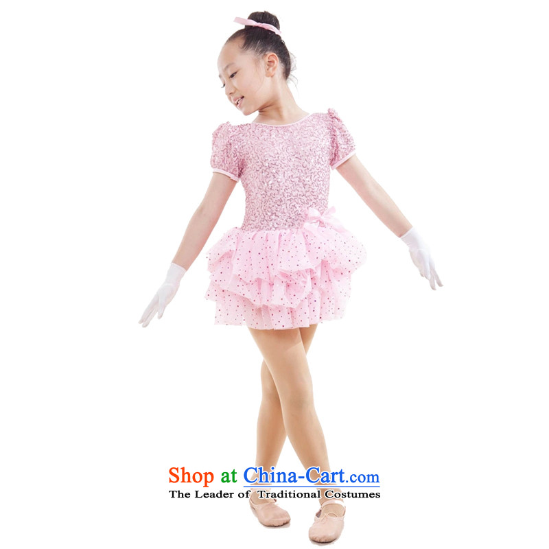 Adjustable leather case package children costumes girls Latin dance performances to pale pink dress highlights185cm skirt