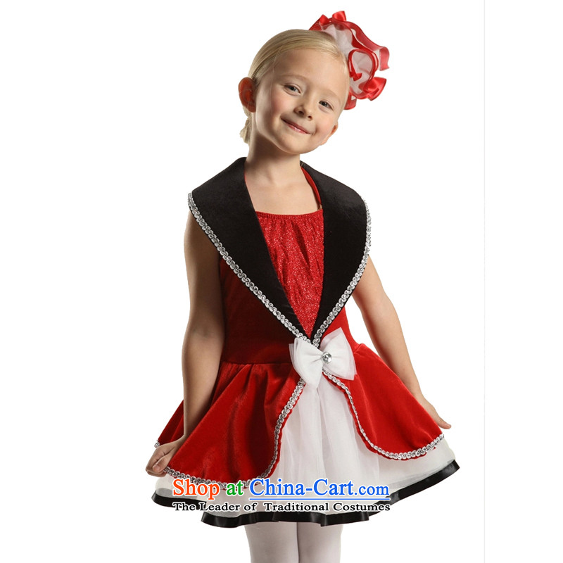 Adjustable leather case package children theatrical performances staged dress skirt girls princess skirt 185cm red