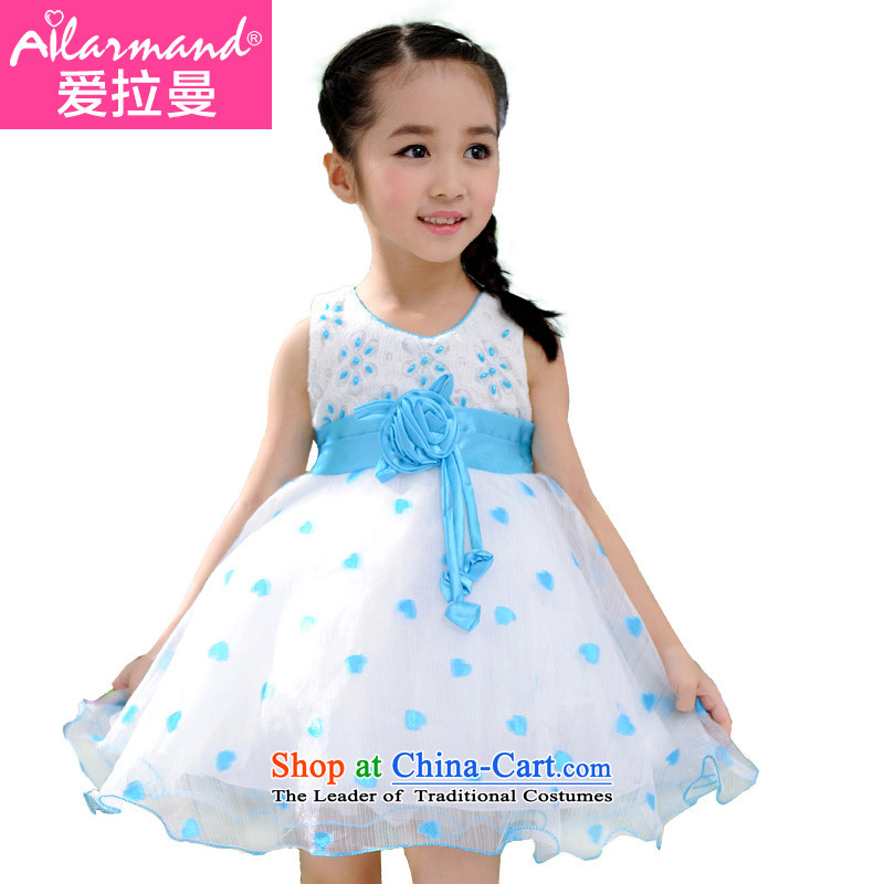 Love Rahman (ailamand) summer new child dresses sweet girl children's wear skirts princess dress 61 performances skirt Flower Girls wedding dress pink pattern bon bon princess skirt Blue 130