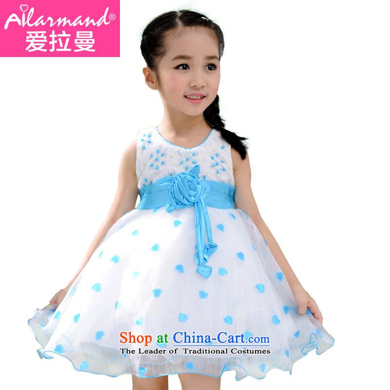 Love Rahman (ailamand) summer new child dresses sweet girl children's wear skirts princess dress 61 performances skirt Flower Girls wedding dress pink pattern bon bon princess skirt Blue130