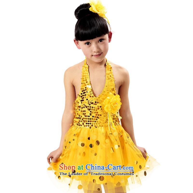 The Dream arts 61 children costumes dance girls children will serve children bon bon skirt on chip dress Latin dance MZY-0049 yellow150